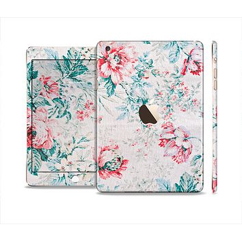 The Coral & Blue Grunge Watercolor Floral Full Body Skin Set for the Apple iPad Mini 3
