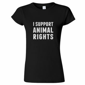 Gildan Brand Crew Neck I Support Animal Rights Cruelty Activist Peta Vegetarian Vegan Short-Sleeve Premium Womens Tee Shirts