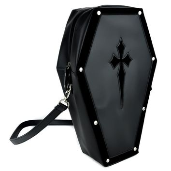 Black Cross Coffin Bag Gothic Purse Backpack Deathrock Punk Vamp Lolita Cosplay