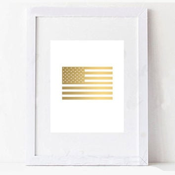 Gold American Flag Fourth of July Memorial Day Digital Printable
