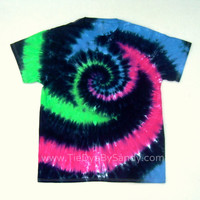 Tie Dye Shirt- Large Vortex Spiral in Green Blue Pink and Black