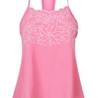 Pink Embroidery Detail Racer Back Cami Top