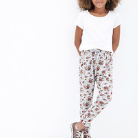FOREVER 21 GIRLS Pleated Floral Joggers (Kids) Heather Grey/Pink