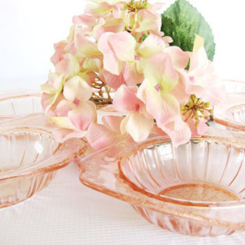Depression Glass Pink Berry Bowls Antique Jeannette Depression Glass Adam 4 Set of 6 Dessert Bowl Tea Party Shower Glass from AllieEtCie