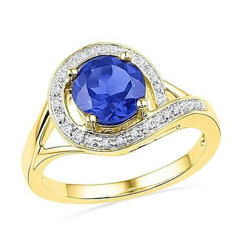 10kt Yellow Gold Women's Round Lab-Created Blue Sapphire Solitaire Diamond Ring 1-7/8 Cttw - FREE Shipping (US/CAN)