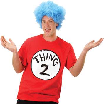 adult costume: cat in the hat thing 2 with wig | xl