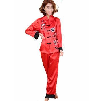 Hot Sale Red Chinese Style Women Silk Pajamas Set Embroidery Pyjamas Suit Handmade Button Sleepwear Flower 2PCS M L XL WP001