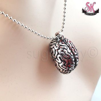Silver Bloody Brain Necklace