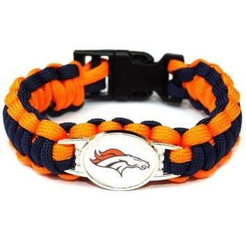 Denver Broncos Paracord Bracelet  American Football Team Umbrella Braided Bracelet Football Fans Gift 10pcs/lot