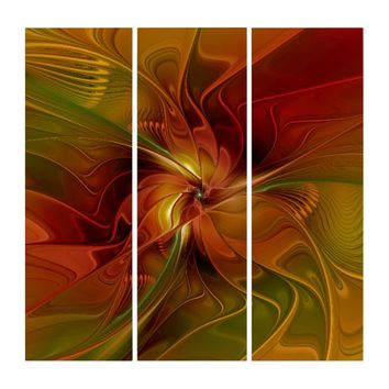 Warmth, Abstract Fractal Art Triptych