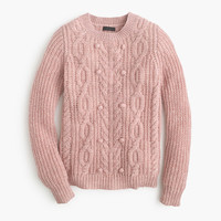 J.Crew Womens Collection Cashmere Cable Sweater With Pom-Poms