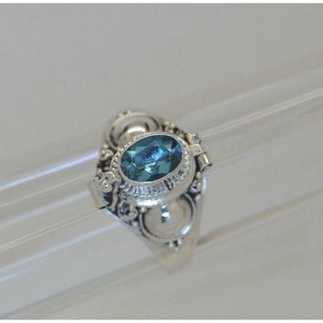 Unisex BLUE TOPAZ CREMATION URN RING .925  STERLING SILVER CREMATION JEWELRY KEEPSAKE