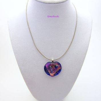 Fused Dichroic Glass Handmade Heart Pendant in Pink and Blue One of a Kind Bubbles of Love Heart Jewelry Necklace