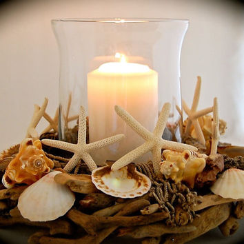 "Seashell and Finger Starfish Driftwood Centerpiece - Wedding Centerpiece - 12"" Diameter fits 6"" Hurricane glass Unique Handmade Coastal Art"