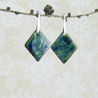 Dangle Geometric Ceramic Earrings Green Cobalt Surgical Steel