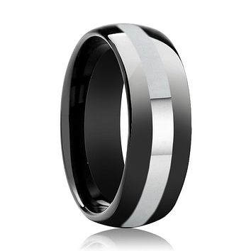 Men's Black Shiny Polished Tungsten Wedding Band with Silver Stripe Inlay & Domed Edges - 8MM