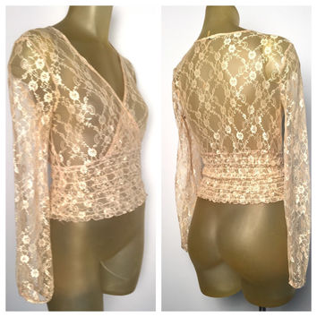 Gold Lace Blouse, See Through Long Sleeve Deep V Neck Champagne Gold All Lace Stretchy Top Sheer Sexy Shirt Cinched Waist Ruffle S small 90s