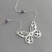 Butterfly Necklace - Sterling Silver with Amethyst Necklace Pendant