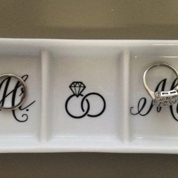 Personalized Monogram Ring Dish. Gift, Ring Tray, Mr and Mrs.