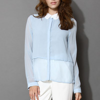 Contrast Scrolled Collar Blouse in Mint / Blue Blue