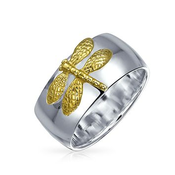 Two Tone Dragon Fly Promise Ring 14 KT Gold Plated 925 Sterling Silver
