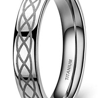 CERTIFIED 4mm Titanium Wedding Band Ring Celtic Knot Engagement Ring