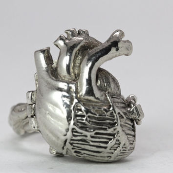 Poison Anatomical Heart Ring in sterling silver