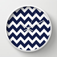 Chevron Navy Blue Wall Clock by Beautiful Homes