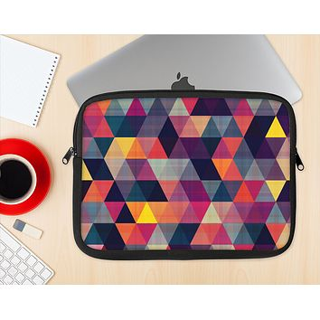 The Triangular Abstract Vibrant Colored Pattern Ink-Fuzed NeoPrene MacBook Laptop Sleeve