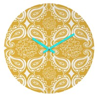 Heather Dutton Plush Paisley Goldenrod Round Clock