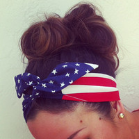 American Flag Dolly Bow Headband