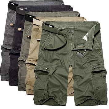 2018 Mens Military Cargo Shorts Summer army green Cotton Shorts men Loose Multi-Pocket Shorts Homme Casual Bermuda Trousers 40