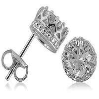 Sterling Silver Crown Round CZ Solitaire Stud Earrings