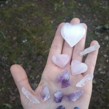 loving flame, crystal bundle, crystal gift set, starter kit, rose quartz heart, selenite heart,  amethyst,  quartz point