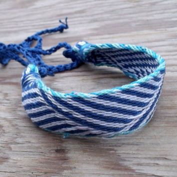 woven bracelet, card weaving colorful blue white friendship bracelet, weave tribal ethnic wrist band, boho jewelry, women men jewellery,