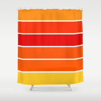 Red Orange Yellow Sunset Stripes Shower Curtain By 2sweet4words Designs