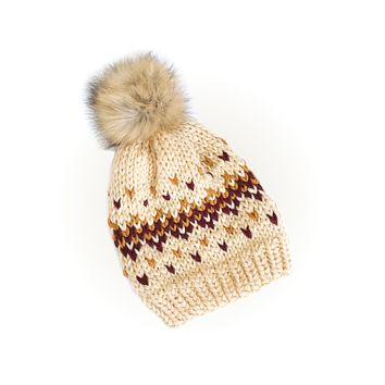 Knit Beanie Hat with Faux Fur Pom - Fair Isle Beige Hat