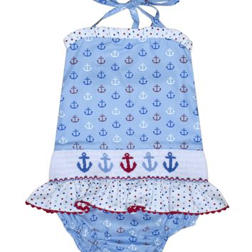 Smocked Anchors 1pc Swimsuit Anchor Fabric