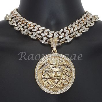"Iced Out Anchor Medusa Pendant 16"" Iced Out Choker 18"" Puffed Gucci Chain Set 52"