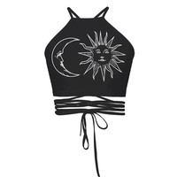 Lace Up Sun & Moon Crop