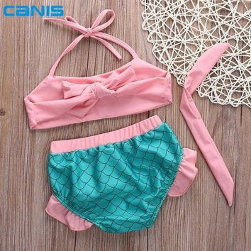 Summer Baby Girls Little Mermaid Swimwear Bikini Set Tankini Swimsuit Bathing Suit Swimwear Pink Girl Swimwear Biquini Roupas