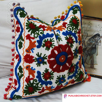 Indian Woolen Embroidered Handmade Pillows Cover Suzani Cushion Covers Christmas Gift Decorative Pillows Ethnic Traditional Artwork  16 x 16