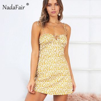 Nadafair Summer Floral Print Dress Women Backless Strap Boho Bodycon Sexy Dress Slim Wrap Bandage A-line Mini Beach Dress
