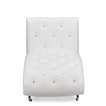 Baxton Studio Pease Contemporary White Faux Leather Upholstered Crystal Button Tufted Chaise Lounge   Set of 1