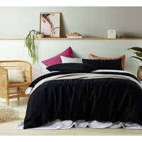 100% Linen Black Quilt Cover Set by Accessorize