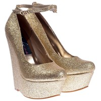 Women's Gold Glitter Ankle Strap Wedge Platform Shoes Pumps Gold Glitter gold wedge Uk6 - Eu39 - Us8 - Au7