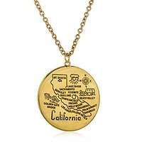 Goldtone Large California Circle Pendant with a 30 Link Inch Chain Necklace