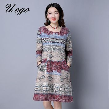 Uego 2018 Fashion Spring Dress Print Floral Long Sleeve Cotton Linen Loose Women Casaul Dress Plus Size Vintage Dress Vestidos