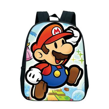 Japanese Anime Bag 12 Inch Mario School Bag Children Cartoon  Backpack Kids Mario Book Bags For Girls Kindergarten Bookbag For Children Kids AT_59_4
