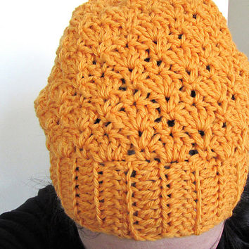 Crocheted Slouch Hat , Slouch Beanie in Orange , Crochet Shells , Slouchy Hat , Lacy Hat , Ribbed Edge , Wool